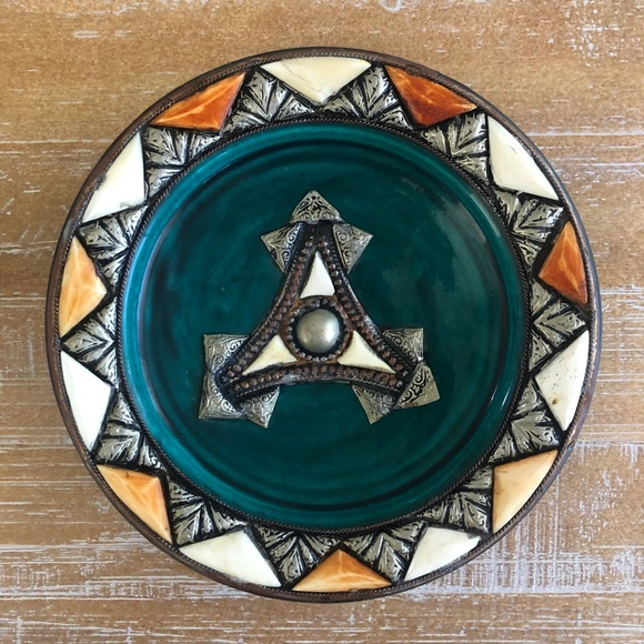 Terra Cotta Bowl Trinket Dish with Silver Details
